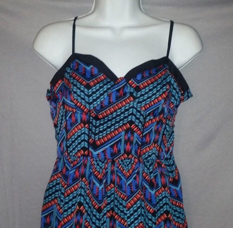 Forever 21 Dress Blue Black Navajo Print Sleeveless Sundress Polyester Size L