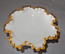 RARE SCARC Gold Crest Fenton Milk Glass Ruffle Footed Bowl  Compote Candy Dish - $16.78