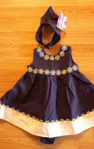 Girl's Sz 18 M Months 3 Pc Blueberi Navy Floral Dress, Handkerchief Hat ... - $8.00