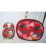 Betty Boop 2007 Twin Bell Battery Operated Red & Gold Alarm Clock w/Red Bag - $5.58