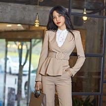 Women's Fashion Career Attire Slim Belt LongSleeve Blazer Pants Suit