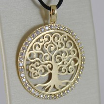 18K YELLOW GOLD TREE OF LIFE PENDANT 25 MM, 1 INCHES, ZIRCONIA, MADE IN ITALY image 1