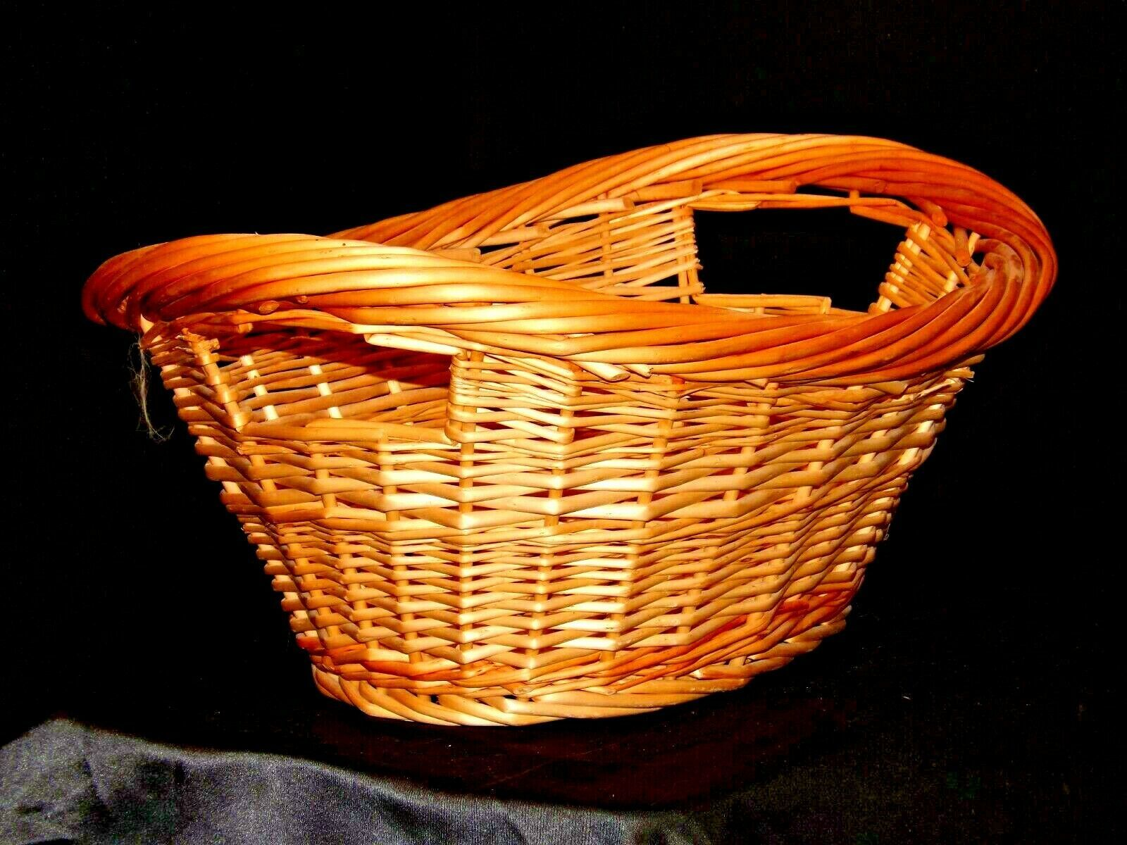 Handmade Woven Wicker Basket with Double Handles AA-191710  Vintage Collectible