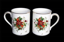 2 Mikasa Christmas HOLIDAY DELIGHT Poinsettia Pinecones Berry Mugs Gold ... - $14.99
