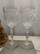 2 Cris D'arques Durand ANTIQUE CLEAR (KNOB) Wine Glasses  - $16.82