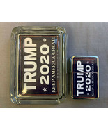 "President Trump 2020 D1Glass Square Ashtray 4"" x 3""  & Oil Lighter Gift Set - $19.75"