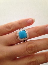 Pre Owned David Yurman 11mmx11mm Albion Turquoise and Diamond Ring Size 6 - $495.00