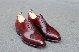 Handmade Men's Derby Red Two Tone Brogue Style Oxford Leather Shoes image 3