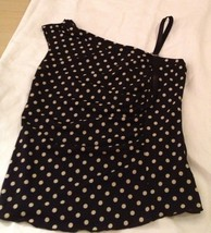 Forever 21 One Shoulder Tank Top Size Med Black Polka Dot - $5.77