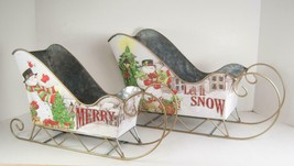 Metal Snowman Sleigh Sled Tabletop Center Piece Christmas Holiday Decor ... - $37.57