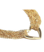 Multichain 14K Gold EP Heart Toggle Choker Necklace NP78 - $9.99