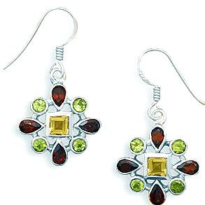 Peridot, Garnet & Citrine Set in Solid .925 Sterling Silver French Wire Earrings