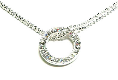 Np31 silver circle cz 2 chain necklace