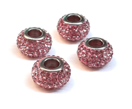 15x9mm Beads, Crystal Charm Beads,Jumbo Pave Beads,Large Hole Beads,Euro... - $2.67+