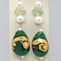 Ohrringe aus Gold Gelb 750 18K Perlen Fw Tropf Bemalt Hand Made in Italy image 2