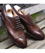 New Men's Brown Leather Oxford Wingtip Lace up Leather Shoes Made to Oder - $149.99+