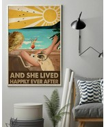 She Lived Happily Reading Dogs Blond Girl, Art Prints Poster Home Decor ... - $25.59+