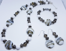 White/ Gray Swirl Disc Glass Beaded Trio Set  - $35.00