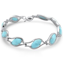 Sterling Silver Marquise Shaped Natural Larimar Bracelet - $164.99