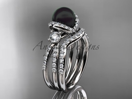 Black cultured pearl engagement ring 14kt white gold wedding ring set ABP146S - $2,545.00