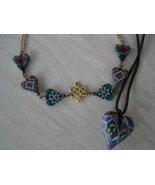 Lot of 2 Psychedelic Heart Necklaces, , Rope, 6 Heart Chain - $9.99