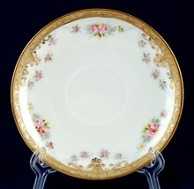 Nippon 5.5-in Saucer Hand Painted Pink Roses Raised Gold Scrolling & Beaded - $5.00