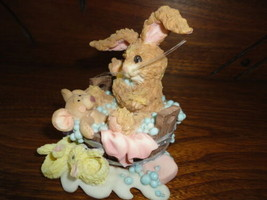 Baby Rabbit and Mouse in Bubble Bath w Bunny Slippers Porcelain Figurine - $59.95