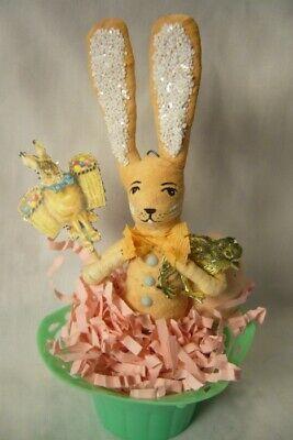 Vintage Inspired Spun Cotton, Rabbit in Basket no. 165