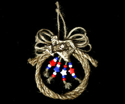 OOAK Handcrafted Western Country Rope Texas Christmas Tree Ornament - $9.98