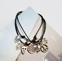 Lucky Twining Skull Crystal String Bracelet - $8.99