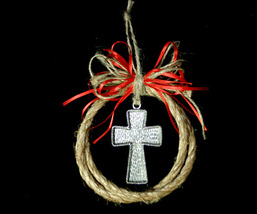 Handcrafted Western Country Rope Christmas Tree Ornament with Pewter Cross - $10.98