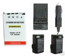 Battery + Charger for Casio EX-S600 EX-S600D EX-S20U EX-S3 EX-S500 EX-S1... - $20.85