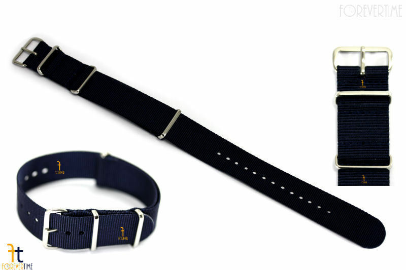 Primary image for 22mm Heavy Duty High End Navy Blue Woven Fits Hamilton Watch Band Strap 3 Loops