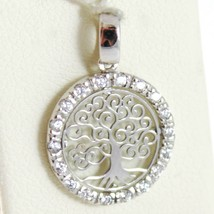 18K WHITE GOLD MINI TREE OF LIFE PENDANT, 0.55 INCHES, ZIRCONIA, MADE IN ITALY  image 1