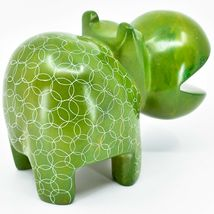 Vaneal Group Hand Carved Soapstone Large Heavy Green Hippopotamus Hippo Bookend image 5