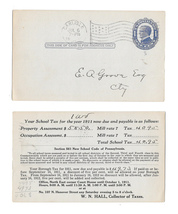 UX22 Postal Stationery Card 1c McKinley 1911 School Tax Carlisle PA Flag Cancel - $4.99