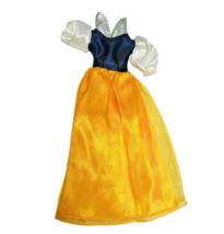 "Disney Doll Dress Snow White  Silver Collar Velcro Closure 10"" Long Blue Yellow - $5.93"