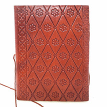 Triple Moon and Pentagram Leather Journal 5x7 with Cord Unlined Handmade... - $52.17