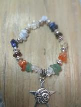 Chakra Bracelet w/ Natural Healing Stones, Moon & Sun Charm Valentines day - $8.90