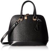 Hoxis Classical Wood Grain Embossed Faux Leather Zipper Shell Shoulder H... - $37.96