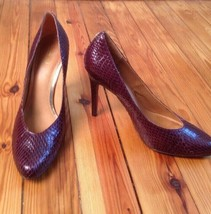 Coach 11 B Urban Garnet Purple Snake Skin Leather Heels Pumps - $68.40