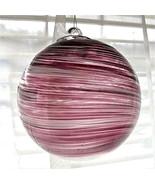"""Hanging Glass Ball 4"""" Diameter Purple w/ White Swirls Friendship Ball (1... - $15.84"""