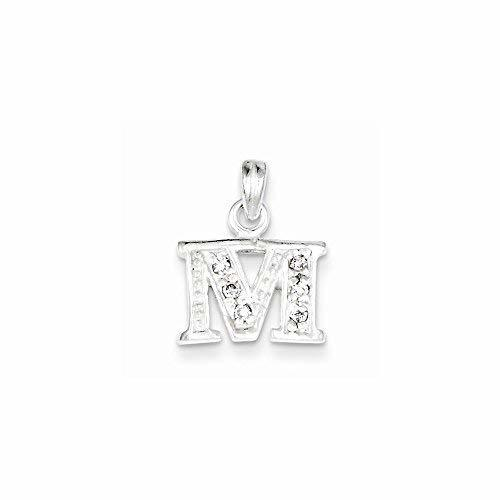 Primary image for Sterling Silver Cz Initial M Pendant, Best Quality Free Gift Box