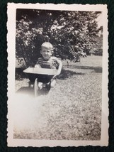 1950's B&W Photo Young Boy with old metal toy wheel-barrow - $9.50