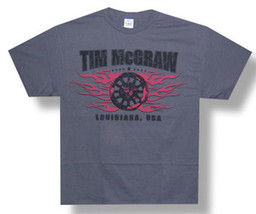 Tim McGraw-Flaming Wheel Logo-Louisiana USA-Large Charcoal Grey T-shirt - $9.74