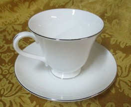 Wedgwood Signet  China  Platinum Cup and Saucer  1994 - $5.62