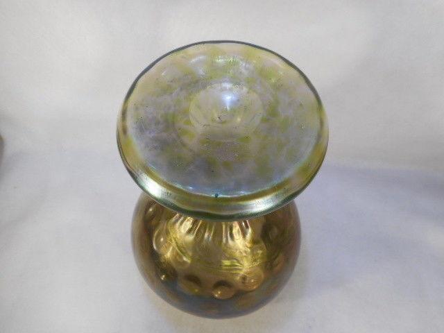 "Vintage Loetz Style Vaseline to Cranberry Iridescent Glass Pedestal Vase 10 1/2"""