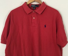 Polo Ralph Lauren Mens Short Sleeves Polo Shirt 100% Cotton Size XL Red - $18.32