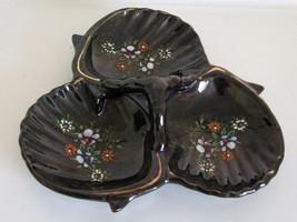 1950s Redware Relish Dish Japan Brown Moriage Divided Floral Cloverleaf. - $38.00