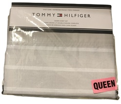 Tommy Hilfiger Gray White Striped Sheet Set, Queen, 4 Pcs - $79.50